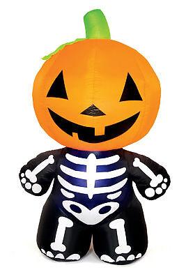 Grande Gonfiabile Zucca di Halloween Scheletro 1.8 Metri Giardino Esterno
