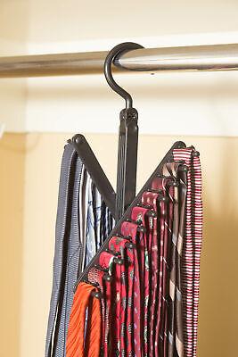 3-Pack Tie & Belt Rack – 20 Non-Slip Hanger Hooks Each - Rotates 360 Degrees
