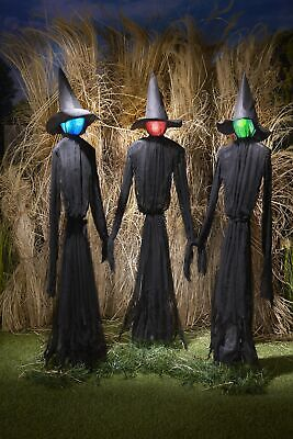 Light-Up Witches Halloween Yard Decorations with LED Lights - Set of 3