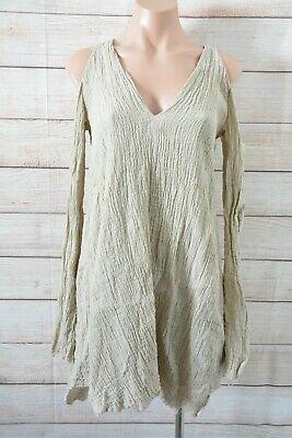 Kitx Cold Shoulder Shift Dress Size 8 Beige Brown Linen Long Sleeve