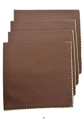 - Set 4 Fancy Dark Chocolate Brown Hemmed 100% Cotton 18