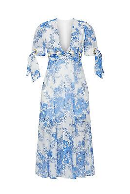 alice McCALL Women's Dress Blue White Size 6 Sheath Grommet Floral $495-51 #193