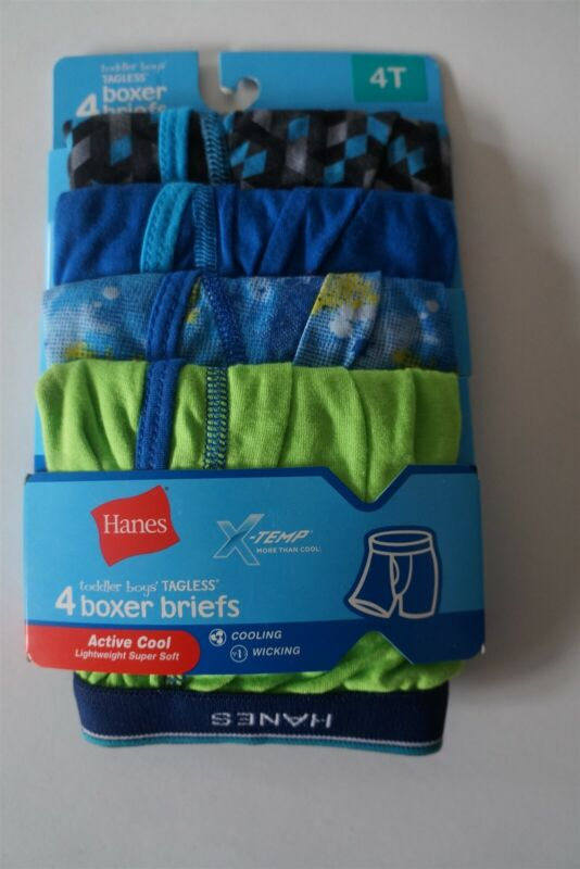 Hanes Toddler Boys Premium X-Temp Boxer Briefs Size 4T Pack of 4