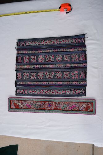 Antique Chinese Tribal Miao Ethnic Handmade indigo Baby Carrier 2 pieces PD104