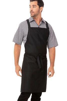 Chef Works Cross-Back Bib Apron Black