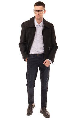 RRP €800 TOM REBL Coated Blouson Jacket Size 50 L Black Cracked Effect Full Zip