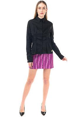 RR €300 PIERRE BALMAIN Shirt Size 48 XXL Black Pleated Button Front Long Sleeve