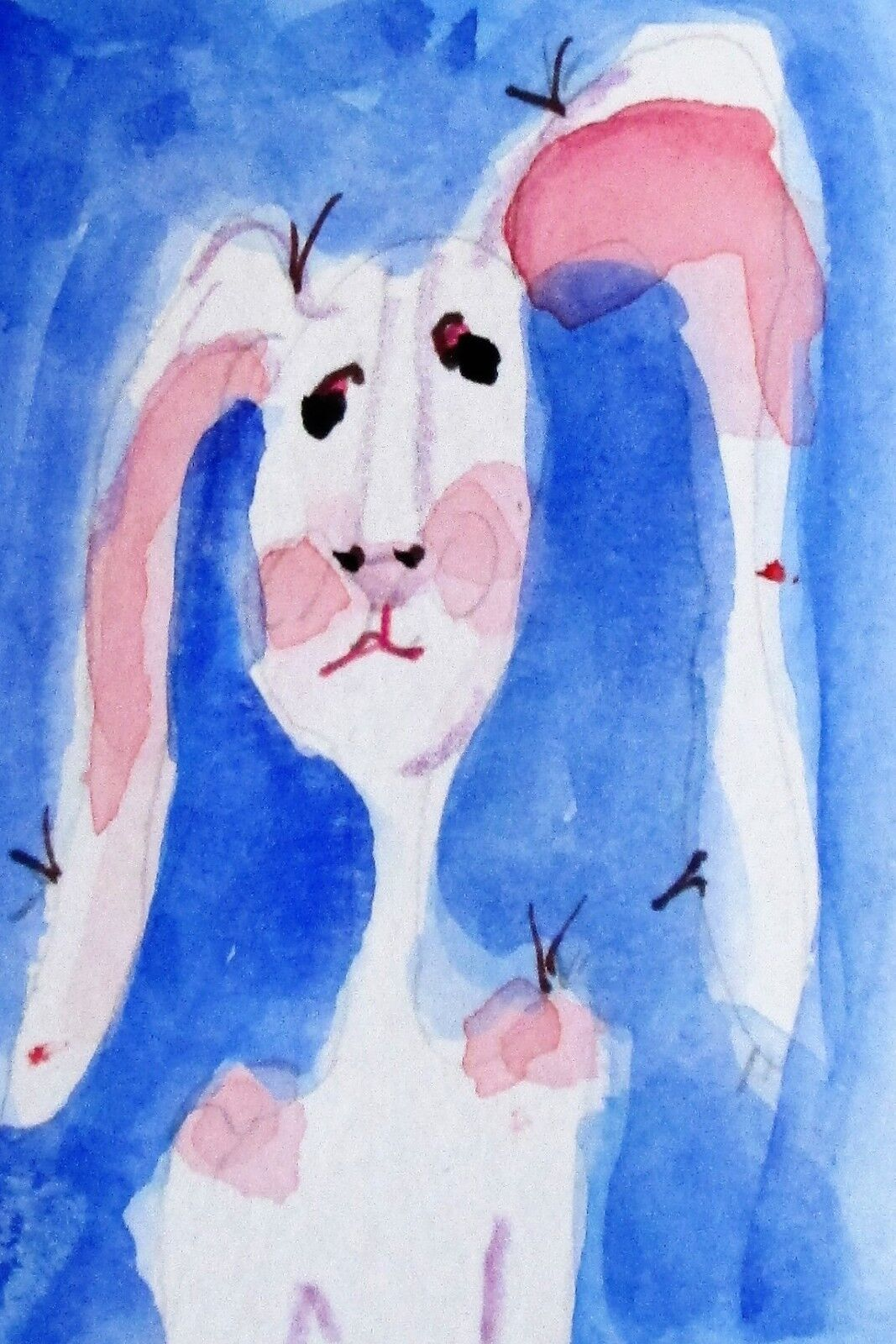 Aceo Long Eared Bunny Rabbit Watercolor Miniature Delilah Art - $7.50