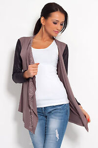 ☼ Elegance & Sensible Women's Cardigan ☼ Jacket Style Eco LEATHER Sleeve 8079