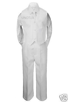 4pc Boy Formal 1st Communion Christening Uniform Baptism Suit Vest White sz S-20 (1st Communion Suits)