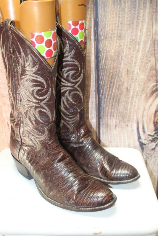 Vintage, 10, D, Brown, Lizard, Skin, Mens, Western, Boots,