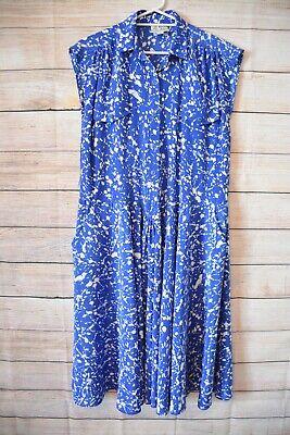 Horrockses Fashions Vintage Dress Shirt Shift Size 14 Large Blue White Sleeveles