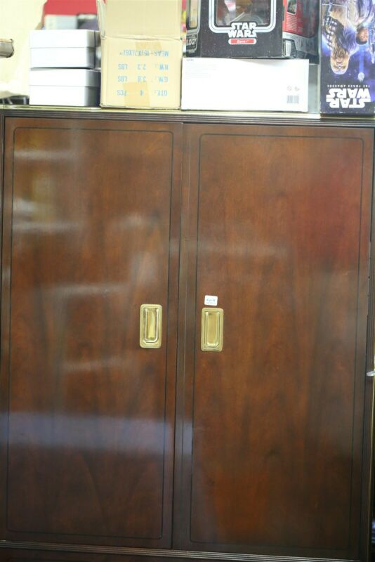 Baker Furniture Hollywood Campaign Cherry Brass Armoire Dresser Mid Century