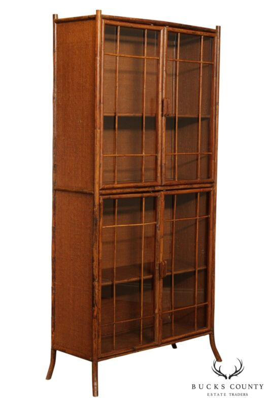Bamboo & Rattan Vintage 4 Door Tall Bookcase or Display Cabinet