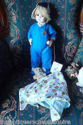 "Jerri McCloud all ceramic doll ""Scottie"", 17"" tall, beautiful blue pajamas"