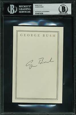 George H W  Bush Authentic Signed 4X6 Book Plate Autographed Bas Slabbed