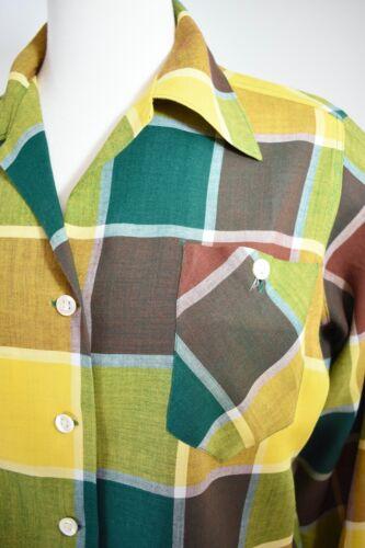 40s 50s VTG ~ DEADSTOCK ~ Ship N Shore Blouse ~ Man-Tailored Plaid Sportswear M