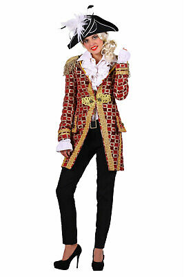 excl. Frack Damen rot Karnevalsjacke Mantel Karneval Piratin - Roter Mantel Uniform Kostüm