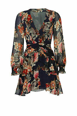 Nicholas Women's Dress Blue Size 6 Sheath Floral Print V-Neck Silk $595- #058