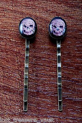 (LTV Creation Bobby Pin Pair Flower Skull Design Glass Top Hair Pin Accessory)