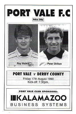 1990/91 Port Vale v Derby County, friendly, PERFECT CONDITION