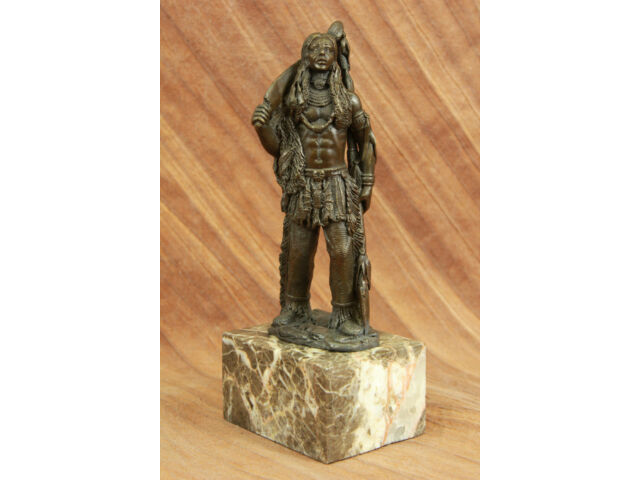 Male Native American Indian Warrior bronze Sculpture Art Deco Figurine Figure NR