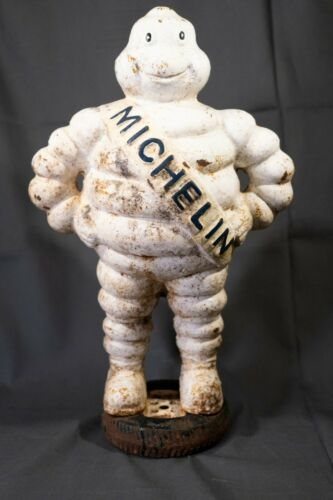 Antique Cast Iron Michelin Man Dealer Advertising Model, Detroit Reg 1918