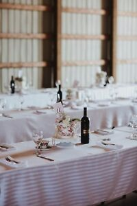 14 Mismatched white rectangle table cloths