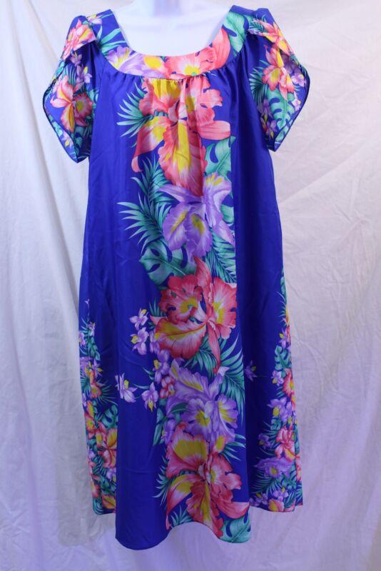 Royal Creations Hawaii Muu Muu Dress Patio Blue Flowers