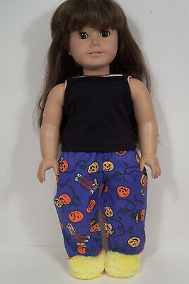Halloween Pumpkin PJ Pajamas & Slippers Doll Clothes For 18 American Girl (Debs
