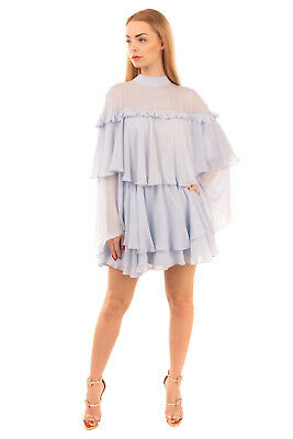 RRP €660 CAROLINE CONSTAS Silk Mini Tiered Dress Size M Cape Effect Made in USA