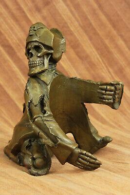 Restaurant Heim Halloween Dekor Skelett Wein Halter Bronze Figur Statue Sale