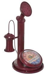 Large 12.5 Retro Phone Telephone Vintage Dark Red Table Mantle Clock Home Decor