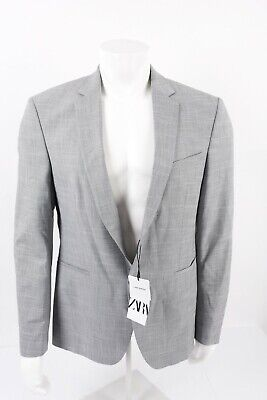 Zara Mens Textured Suit Jacket Blazer Sport Coat EU 52 US 42 Gray 0706/358 NWT