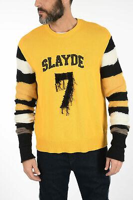 NEIL BARRETT men Knitwear Sz M Embroidered Crewneck Sweater Jumper Yellow M (...