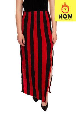 RRP €970 JUAN CARLOS OBANDO Silk Maxi Skirt 10 / L Striped Textured Made in USA