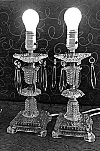 Vintage retro boudoir clear glass table lamps with crystals - PAIR