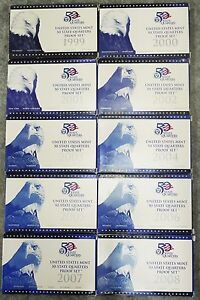 1999 - 2008 State Quarters US Mint Proof Sets Brilliant Coins and Packaging