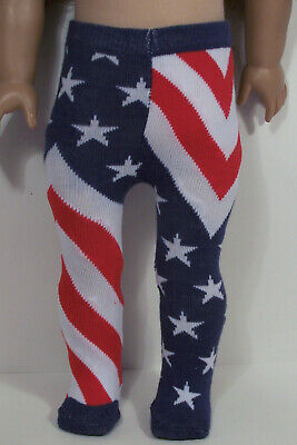 RED WHITE BLUE Flag Stars Stripes Tights Doll Clothes For 18 American Girl (Debs - Red And White Striped Tights For Girls