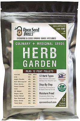 Organic Herb Garden - 12 Herb Variety Seed Pack Kit Heirloom Survival Garden Organic Food Culinary Set