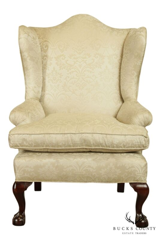 Antique Chippendale Style Custom Upholstered Mahogany Ball & Claw Wing Chair