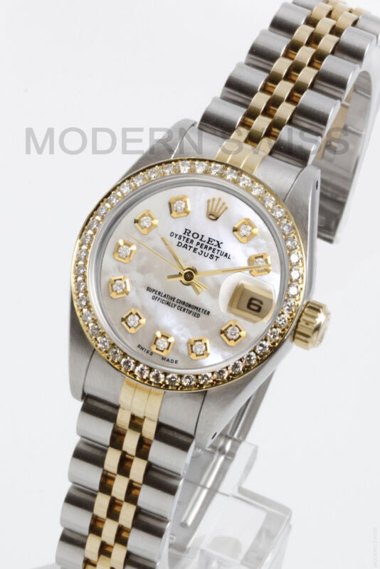 Rolex Ladies Datejust 18k Gold & Steel White Mop Diamond Dial & Bezel Jubilee