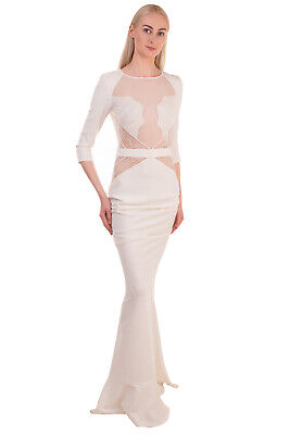 RRP €385 ELISABETTA FRANCHI Mermaid Gown Size 40 Tulle Inserts Made in Italy