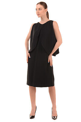 RRP €1325 OSMAN Sheath Dress Size 14 / XL Layered Top Sleeveless Made in UK