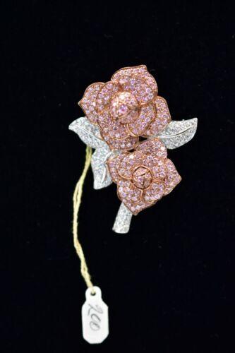 Pin Brooch 925 Sterling Silver Pink Rhinestone Crystal Pave Rose Vintage Bin1