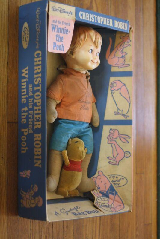 Very Rare Winnie the Pooh Christopher Robin Gund doll 1960s  in Original Box!