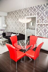 Glass and Chrome Dining Table Set with 4 Leather Chairs