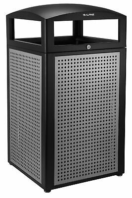 Alpine Industries Steel 40 Gallon Outdoor Recycle Bin Trash Can Waste Receptacle ()