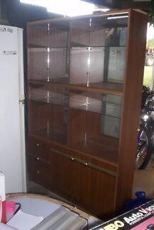 Display Cabinet Glass Shelves Mirror Back