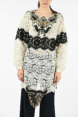 FAUSTO PUGLISI women Dresses Sz 40 IT White Printed Shift Dress Lace Flax Whi...